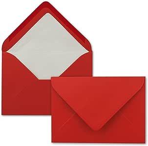 Farbige Kuverts in DIN B6 Format Nassklebung 100 Briefumschl/äge in Weiss mit wei/ßem Innenfutter 12,5 x 17,6 cm Seidenfutter