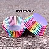 100piezas de estándar para horno para Cupcake envoltorio para magdalenas casos Liners vasos Rainbow Color 3.2* 5* 6.8cm B