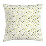 Trsdshorts Green and Yellow Throw Pillow Cushion Cover, Doodle Birds Dots Hearts and Foliage Background Romantic Spring, Decorative Square Accent Pillow Case, 18 X 18 inches, Fern Green and Yellow