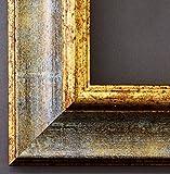 Bilderrahmen Acta Grau Gold 6,7-70 x 100 cm - LR - 500 Varianten - Alle Größen - Handgefertigt - Galerie-Qualität - Antik, Barock, Landhaus, Shabby, Modern - Fotorahmen Urkundenrahmen Posterrahmen