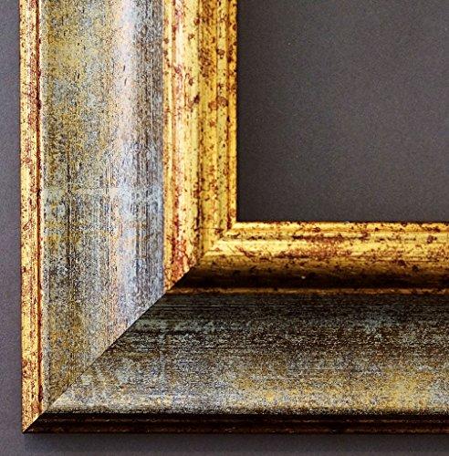 Bilderrahmen Acta Grau Gold 6,7-50 x 70 cm - LR - 500 Varianten - alle Größen - handgefertigt - Galerie-Qualität - Antik, Barock, Landhaus, Shabby, Modern - Fotorahmen Urkundenrahmen Posterrahmen -