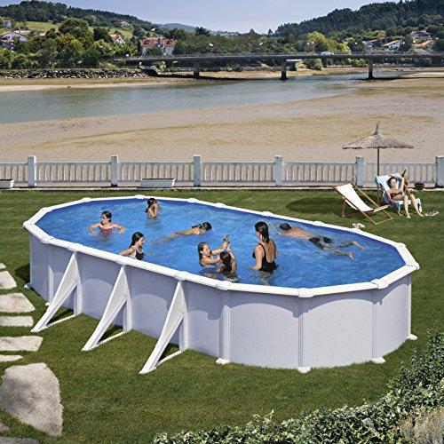 Gre KITPROV818- Piscina Atlantis Desmontable Ovalada de Acero Color Blanco 800x470x132 cm