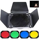 """GODOX BD-04 Puerta de Granero Solidly Kit para 7"""" Estándar Reflector con Rejilla de Nido de Abeja y Cuatro Filtros de Gel de"""