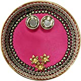 Icrafts India Diwali Decorations Three Golden Flowers Round Pooja Thali Tilak Decorative Platter Set, Traditional Festive Decor
