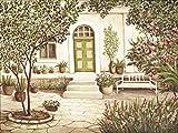 Artland Wandbilder selbstklebend aus Vliesstoff oder Vinyl-Folie Andres Landhaus Landschaften Garten Malerei Creme A1PK