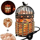 Omonic ( 3-5kg ) Unique Craftwork Himalayan Salt Lamp Night Light Lights,Crystal Table Desk Lamp With Vintage Bird Cage Sisal Weaved Lantern Basket Touch Dimmer Switch And 1 Salt Candle Holder Set, Pack of 2 Bulb