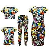 A2Z 4 Kids® Kids Girls Comic Graffiti Bang Print Legging Skater MIDI Dress Crop TOP Skirt Age 7-13 YAERS