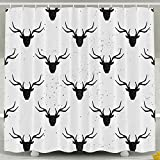 Xyou Têtes de cerf résistant aux moisissures Rideau de Bain Tissu Polyester pour décoration de Salle de Bain 152,4x 182,9cm