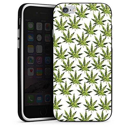 Apple iPhone X Silikon Hülle Case Schutzhülle Hanfblatt Gras Weed Muster Silikon Case schwarz / weiß