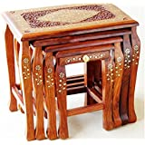 Shilpi Wooden Stool Set Of 4 Handcrafted In Seasoned Sheesham Wood With Brass Work