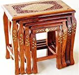 #3: Artesia Sheesham Wood Nesting Tables With Brass Work (Set Of 4)