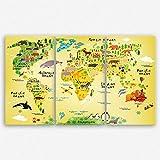 ge Bildet hochwertiges Leinwandbild XXL - Weltkarte für Kinder - 165 x 100 cm mehrteilig (3 teilig)| Wanddeko Wandbild Wandbilder Wohnzimmer deko Bild | 1984