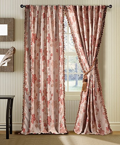 Deco Window Curtain Jaquard Flower Beige Terracotta Mix 7.5 ft Door