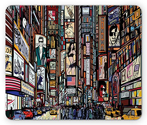 New York Mouse Pad, Sketched Pop Art Style the Fifth Avenue Vibrant Lifestyle and Colorful Billboards, Standard Size Rectangle Non-Slip Rubber Mousepad, Multicolor