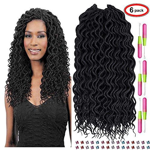Mysweety 18 '' lunga parrucca riccia capelli annodati ondulati volume faux locs capelli crochet twist braids parrucche africane intrecciate estensioni dei capelli ricci + uncinetto (6-pack)