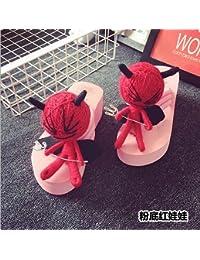 XIAMUO Puppe Hausschuhe Voodoo Puppe Flip Flop Frau Sommer Muffin Dickwandigen 40 Kleine - Yard Schwarz Anpassbare...