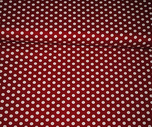1 m * 1,4 m - Stoff - Baumwollstoff - rot mit weißen Punkten - gepunktet - z.B. für Shirts u.v.m. Stoffe Meterware - Kleiderstoff / Dekostoff - gemustert / Polka Dots - Baumwolle - für Vorhänge / Bettwäsche (Stoff Dot Vorhang)