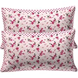 "Kuber Industries Pink Flower Design 2 Piece Cotton Pillow Cover - 17.3""x26""x2"", White"