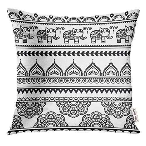 Ntpclsuits Throw Pillow Cover Flower Mehndi Indian Henna Tattoo with Elephants Moroccan Decorative Pillow Case Home Decor Square 18x18 Inches Pillowcase