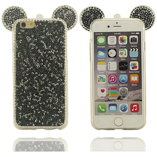 Klar modisches Design in verschiedenen Farben Reihe stilvolle kühle Mickey Mouse-Form Hartplastik Schutzhülle Abdeckung case für Apple iPhone 6 plus / 6S plus Hülle 5.5 inch schwarz