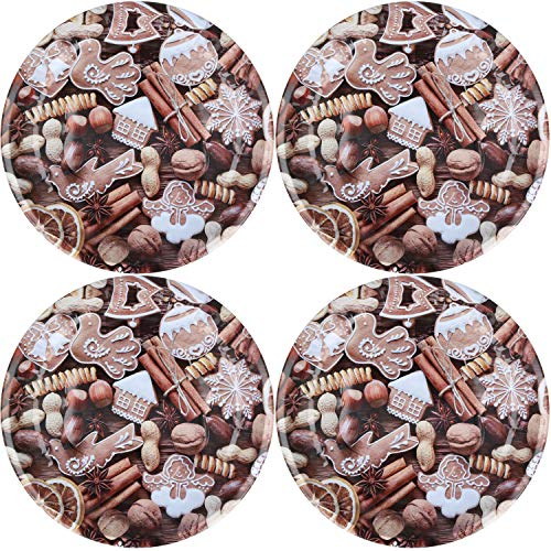 COM-FOUR® Assiette de Noël 4x sertie de différents motifs, assiettes de Noël, par exemple pour biscuits, stollen et autres pâtisseries, Ø 26 cm (04 pièces - Mix3)