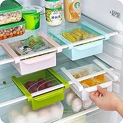 multifonction réfrigérateur tiroir Boîte de rangement étagère Rack support Slide réfrigérateur Organiseur tiroirs de rangement Motif accessoire de cuisine (Blanc 15.5*16.5*7cm) 1pièce, blanc, 1