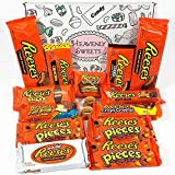 Caja de regalo caramelos Reeses americanos | Selección de chocolate con mantequilla de cacahuete| 15 artículos en cesta de regalo por correo incluye peanut butter y piezas de barras de nueces