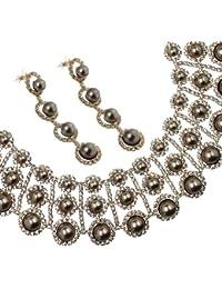 """Juego de cristales y perlas juego de. Cristales de Swarovski Elements a presión """"perlas of Love"""" niveles guirnalda de simétrica 3 funda para Couture Collar y pulido de madera con perlas de cuarzo"""