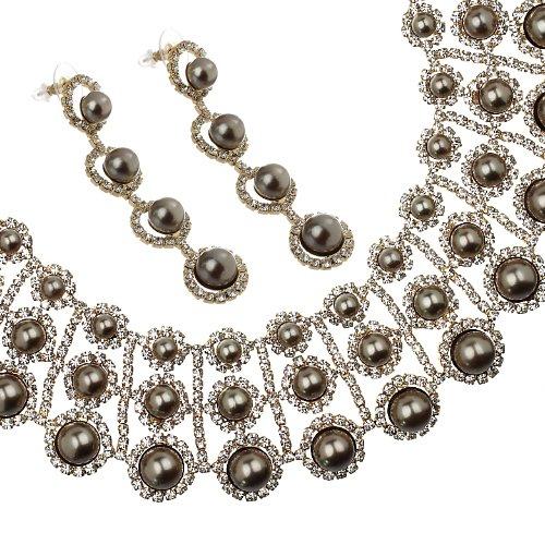 Janeo Jewellery Sets, Pearls & Swarovski Crystals Mix     marrone     Cristallo/perla FASHIONNECKLACEBRACELETANKLET
