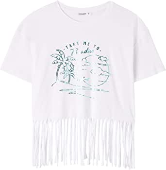 TERRANOVA T-Shirt Crop con Stampa E Frange Donna