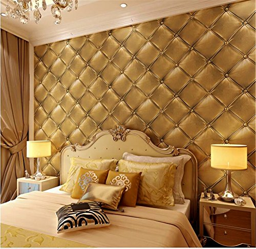 QXLML 3D Stereo Soft Tapete Schwarz Europäischen Stil Leder Muster PVC-Tapete Hotel Schlafzimmer Hintergrund Tapete 10 * 0,53 (M) ( Color : Kim Tong color )