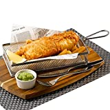 Stainless Steel Rectangular Fryer Serving Basket 26 x 13 x 4.5cm | Fish & Chip Basket, Food Presentation Basket