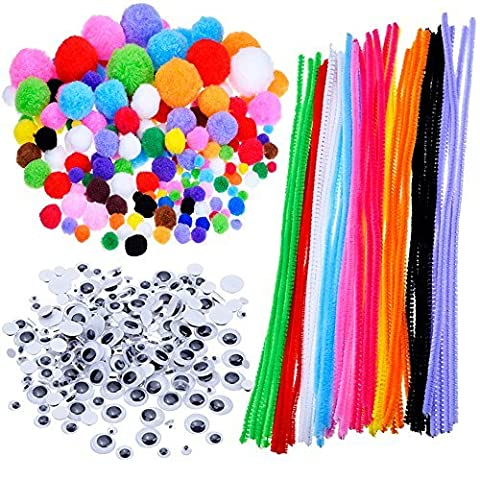 Outus Pompoms, Self-sticking Wiggle Googly Eyes, Chenille Stems for Craft DIY Art Supplies, 450