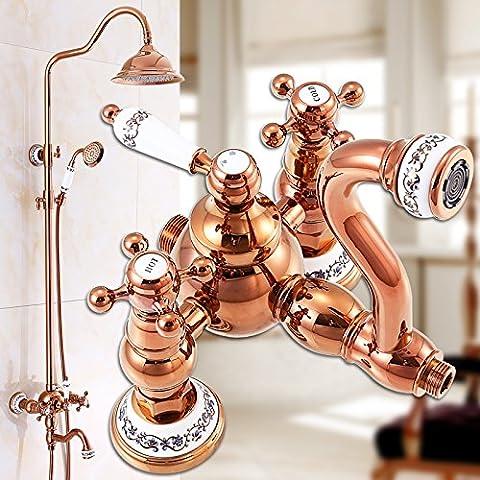 BL @rame oro rosa, blu e bianco, in porcellana, Soffione doccia spray shower faucets