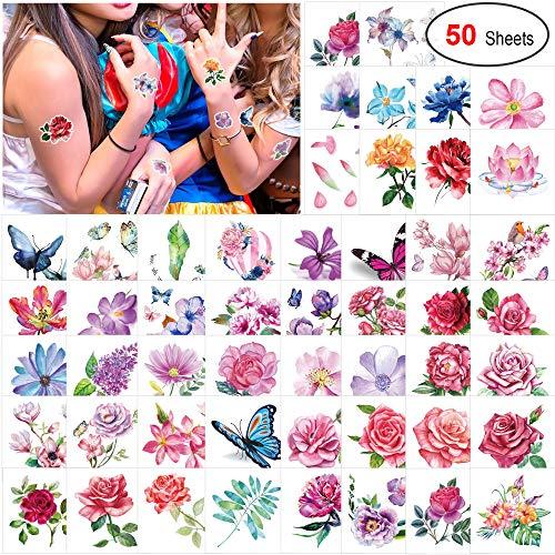Konsait 50 Blätter Blumen Temporäre Tattoos für Frauen Mädchen, Klebetattoo Rose Lotus Schmetterling Tätowierung Wasserdicht Aufkleber Fake Tattoos Körperkunst (Fake Arm Haar Kostüm)