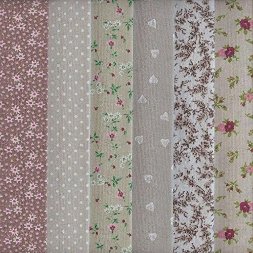 Textiles français Stoffpak - Set de telas - 6 telas (marrón, beige y gris) - colección de telas de coordinación (pequeños diseños) | 100% algodón | cada pieza 35 cm x 50 cm