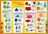 mindmemo Lernposter - Formen & Körper - Das Geometrie Poster - geniale Lernhilfe - DinA2 PremiumEdition