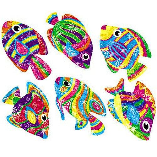 German Trendseller® - 36 x Glitzer Sticker┃ - Regenbogen Fische - ┃ Sticker Set für Kinder