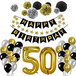 50e Kit de décorations de fête d'anniversaire, Or Nombre 50 Ballons, 30pcs Noir Argent et Or Ballon de Latex, 9pcs Pompons de Papier de Soie pour 50 Ans Vieux Articles de fête