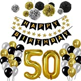 Geburtstag Dekorationen 50., Birthday Party Supplies Sets Alles Gute Zum Geburtstag Banner Bunting Seidenpapier Pom Poms, hängenden Swirl Decor und Ballon Kit(50th)