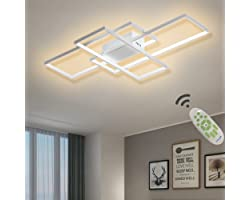 Ganeed Ceiling Light Dimmable LED Chandelier with Remote Control, Modern 50W 3-Layer Square Ceiling Lamp White Acrylic Flush