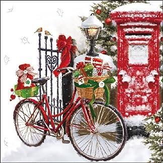 Ambiente de Navidad servilletas 33cm bicicleta en la nieve servilletas