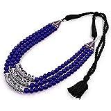 Koorie Fashion Blue & Silver Beads Necklace German Oxidised Handmade Work Necklace for Women & Girls