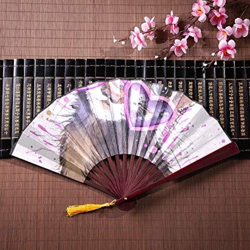 delt Fan Frettchen Aquarell mit Bambus Frame Quaste Anhänger und Stoffbeutel dekorative chinesische Fan Bambus Fans groß die Hand Fan ()