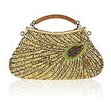 LLXY Mode Femme Fait à la Main Vintage Perles Soirée Petit Sac d'embrayage, dragonne, bandoulière, Sacs en bandoulière, doré