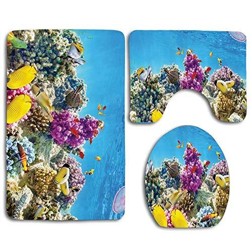 Zengyan Aquarium Fish Tank Sea Life (2) Bathroom Rug Mats Set 3 Piece Toilet Carpet Rugs Includes Contour Mat and Lid Cover, Non Slip Mats for Tub Shower
