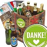 Danke ♥ Bier Paket mit Bieren der Welt ♥ Bier Geschenk Box mit Bieren der Welt INKL | 6x Geschenk Karten für jeden Anlass + 1x Bier - Bewertungsbogen + 3 Urkunden ♥ Personalisierte Geschenk-Box - Danke ♥