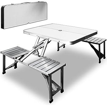 Table de pique-nique portable - Aluminium avec fonction malette - Emplacement pour parasol