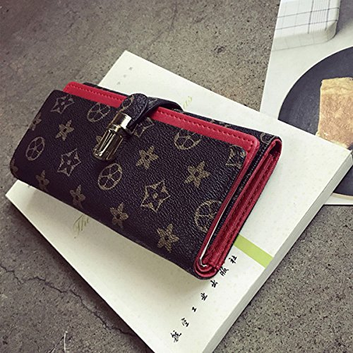 druck-verschluss doppel-pu-brieftasche Retro-Muster dame halten tasche Rot