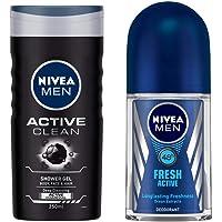 NIVEA Men Shower Gel, Active Clean Body Wash, Men, 250ml And NIVEA Men Deodorant Roll-On, Fresh Active Original, 50ml